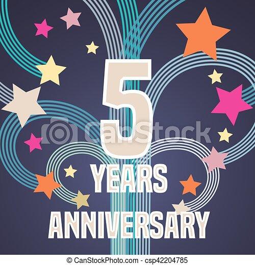 5 Years Anniversary Vector Illustration Banner Flyer Icon Symbol