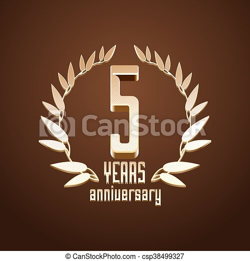 5 Years Anniversary Vector Logo 5th Birthday Age Classic Vector