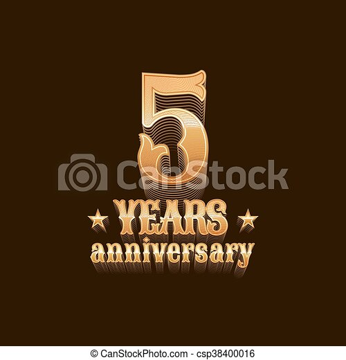 5 Years Anniversary Vector Logo 5th Birthday Design Sign In Gold