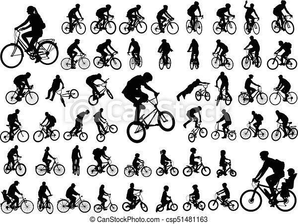 50, colección, alto, siluetas, bicyclists, calidad - csp51481163