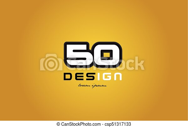 50 number numeral digit white on yellow background - csp51317133