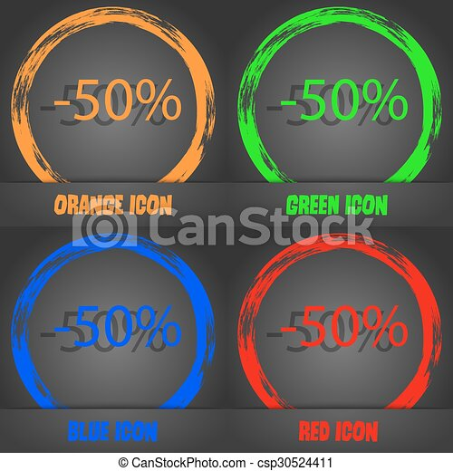 50 percent discount sign icon. Sale symbol. Special offer label. Fashionable modern style. In the orange, green, blue, red design. Vector - csp30524411
