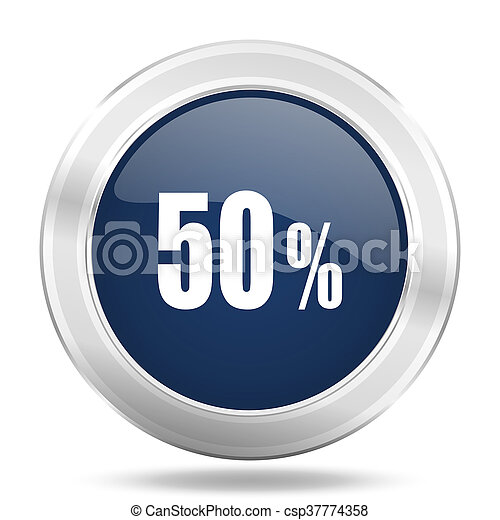 50 percent icon, dark blue round metallic internet button, web and mobile app illustration - csp37774358