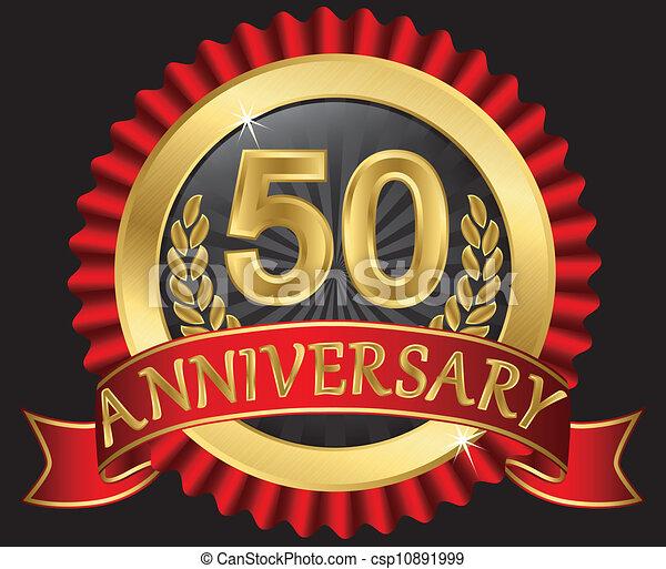 50 years anniversary golden - csp10891999