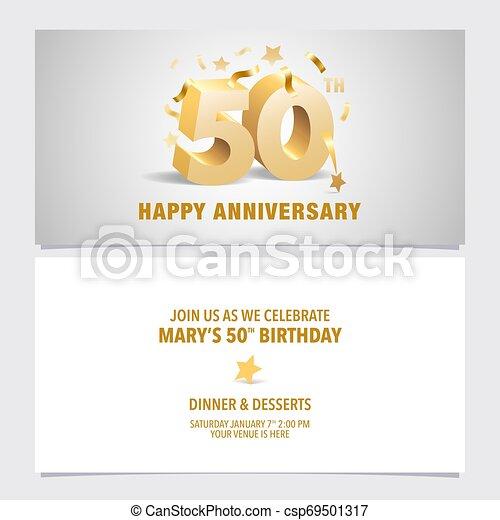 50 Years Anniversary Invitation Card Vector Illustration Template Design