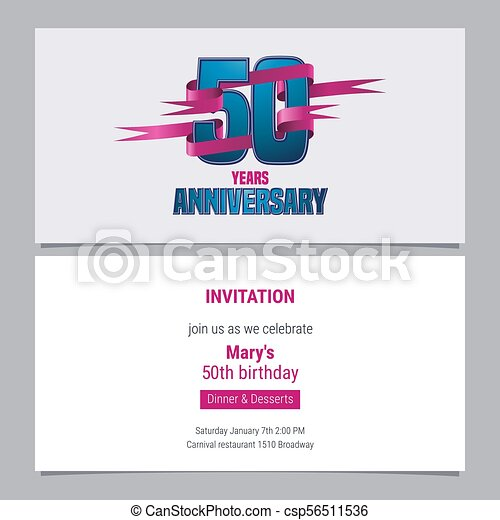 50 Years Anniversary Invitation To Celebration Vector Illustration