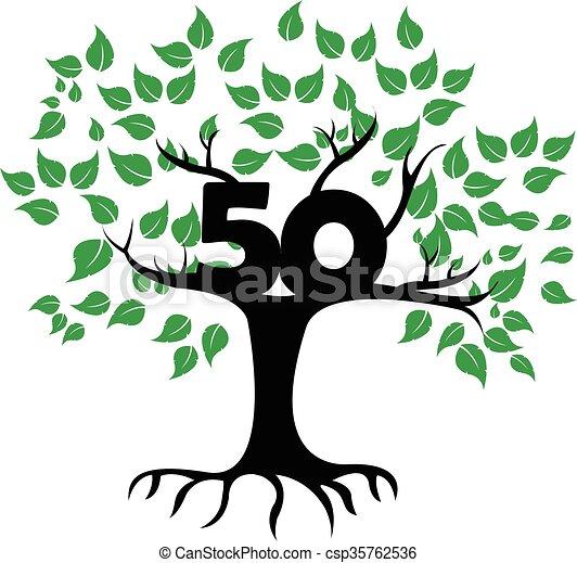50 Years Anniversary Tree Logo - csp35762536
