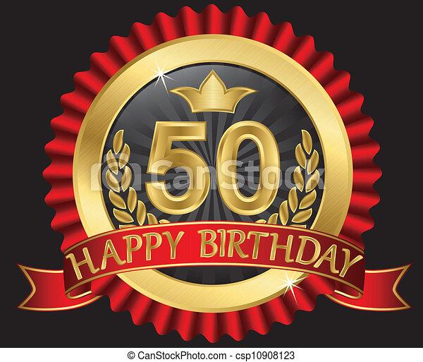 50 years happy birthday golden labe - csp10908123