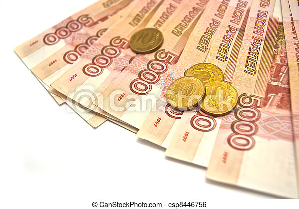 5000 banknotes and 10 rubles coins - csp8446756