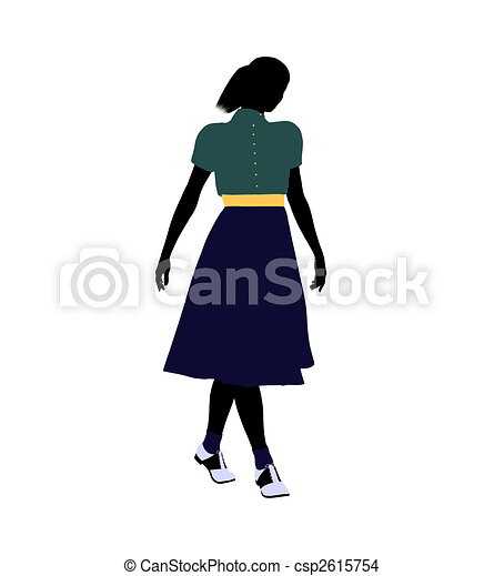 50\'s female dancer Illustration Silhouette - csp2615754