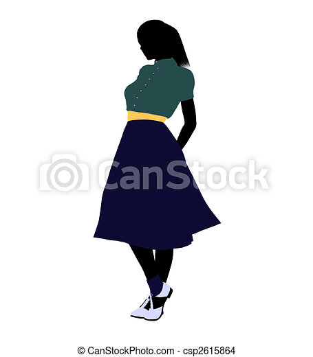 50\'s female dancer Illustration Silhouette - csp2615864
