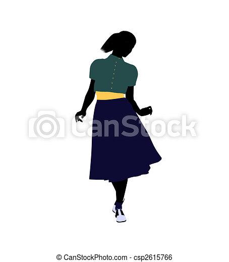 50\'s female dancer Illustration Silhouette - csp2615766