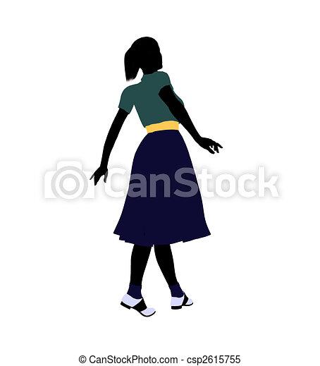 50\'s female dancer Illustration Silhouette - csp2615755