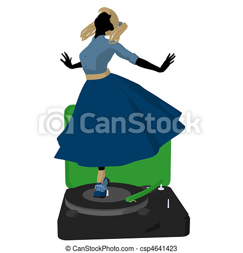 50's Girl Illustration Silhouette - csp4641423