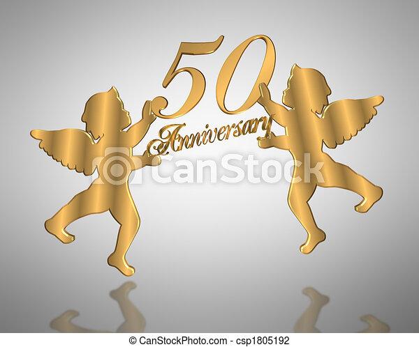 50th Anges Anniversaire Mariage Dore Cherubins Or Ange Carte Nombre Illustration 50 Invitation Arriere Plan