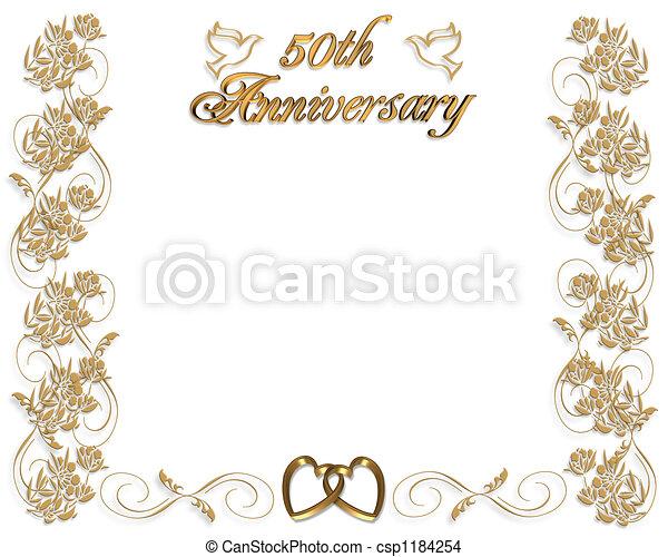 50 Aniversario De Boda Diseño Ilustrado 3d Para La 50a Boda