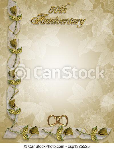 50th, aniversario, oro, invitación. Marco, frontera, 50th, imagen ...