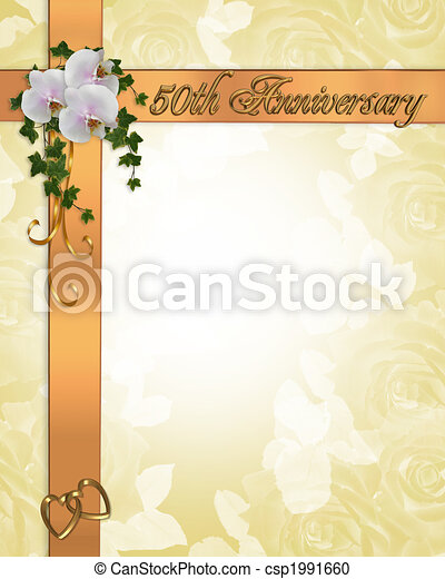 50th Anniversary Invitation Image And Illustration Composition Gold Gift Ribbons Design For Card 50th Wedding Anniversary
