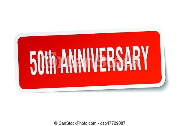 50th anniversary square sticker on white - csp47729087