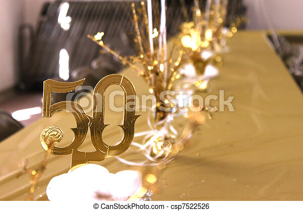 Decorated Table At A 50th Wedding Anniversary