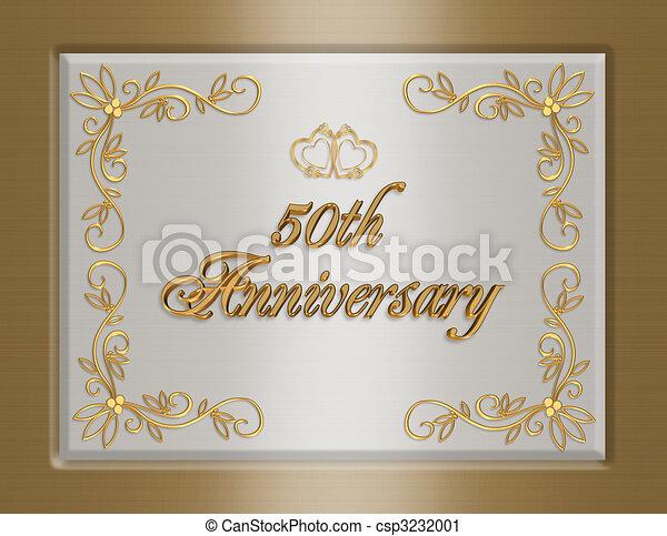 50th golden wedding anniversary invitation 3d illustrated elegant 50th golden wedding anniversary invitation csp3232001 m4hsunfo