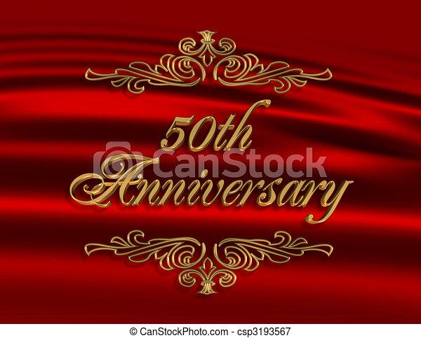 50th Wedding Anniversary Invitation Red Illustration Composition