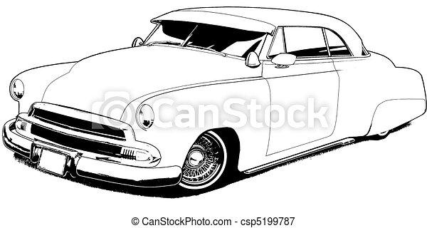 51 Custom Lowrider Black Line Illustration Stock Illustrations