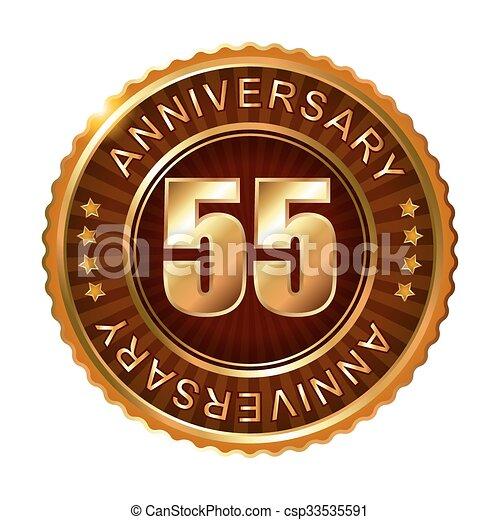 55 years anniversary golden brown label. - csp33535591