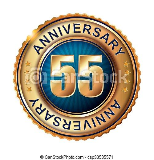 55 years anniversary golden label. - csp33535571