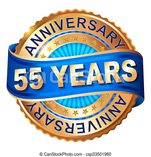 55 years anniversary golden label with ribbon.  - csp33501980