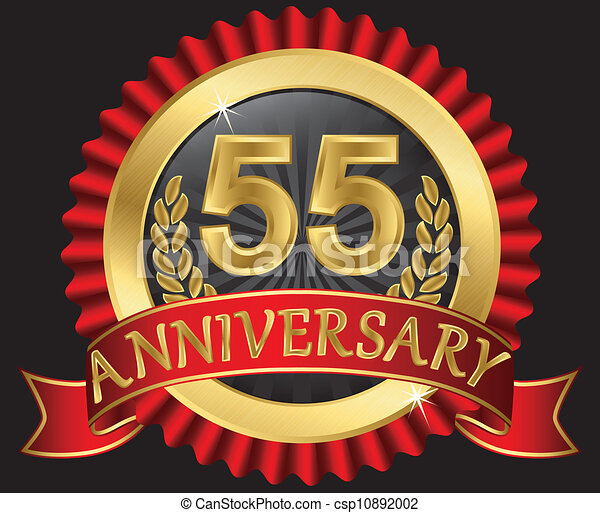 55 years anniversary golden - csp10892002