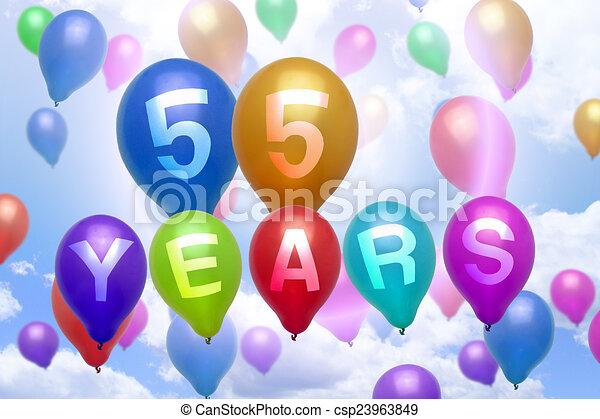 55 Years Happy Birthday Balloon Colorful Balloons