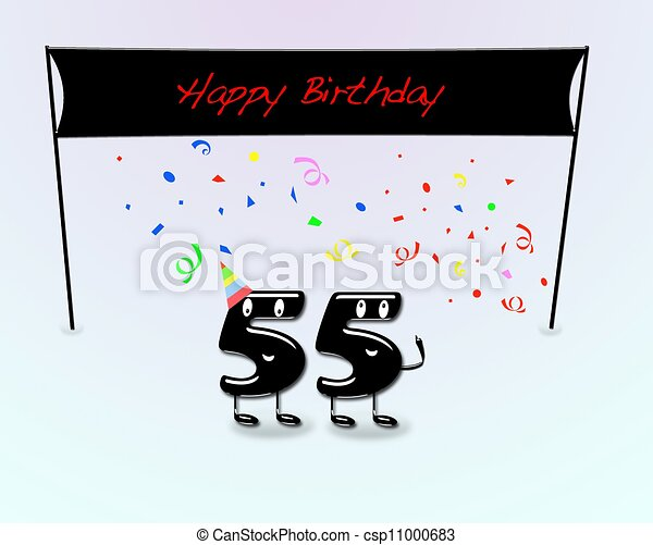 55th Birthday Party Illustration For With