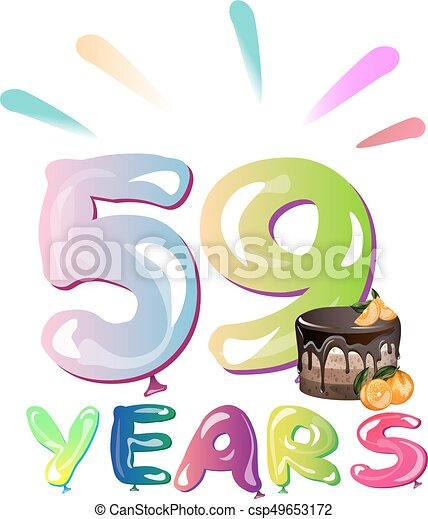 59th Years Anniversary Card With Cake Vector Illustration Vectors