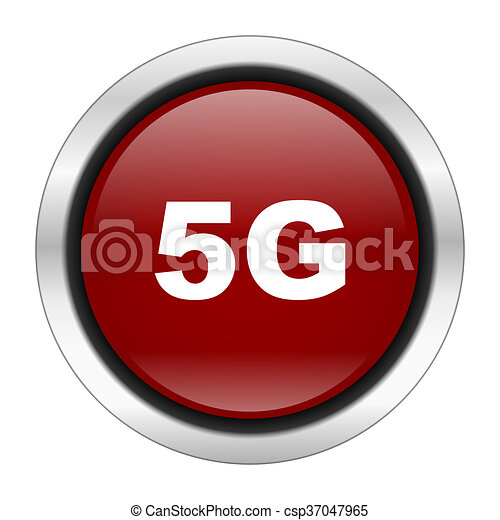 5g icon, red round button isolated on white background, web design illustration - csp37047965
