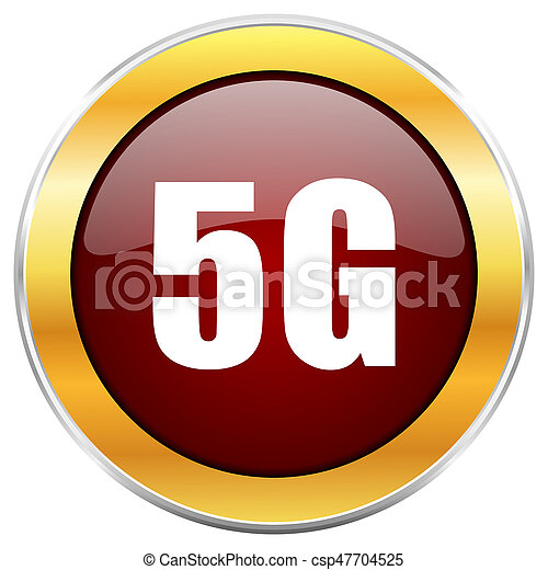 5g red web icon with golden border isolated on white background. Round glossy button. - csp47704525
