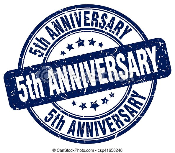 5th Anniversary Blue Grunge Stamp Eps Vector Search Clip Art