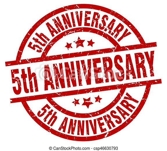 5th Anniversary Round Red Grunge Stamp Eps Vectors Search Clip Art