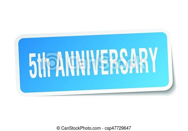 5th anniversary square sticker on white - csp47729647