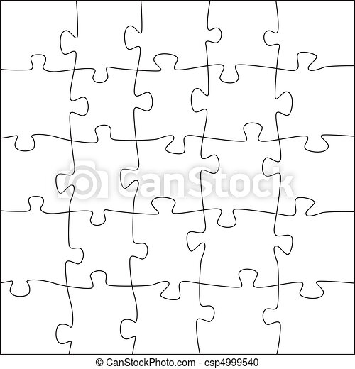 5x5 jigsaw puzzle template - irregular pieces - csp4999540