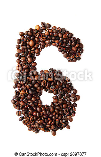 6 - number from coffee beans - csp12897877