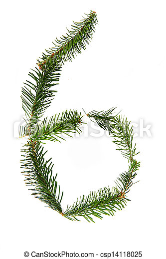 6 - number symbol from christmas alphabet - csp14118025
