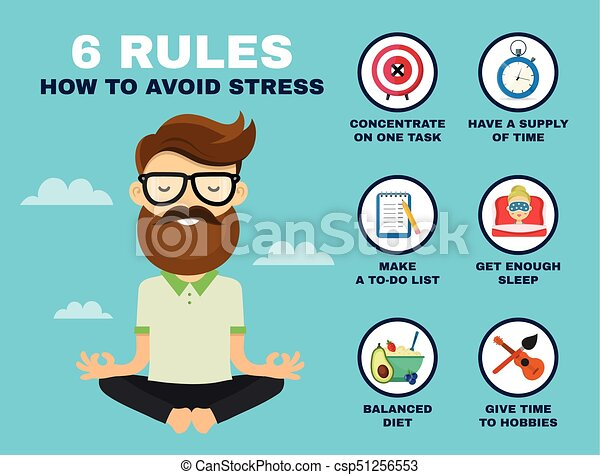 6 rules to avoid stress infographic young hipster guy man
