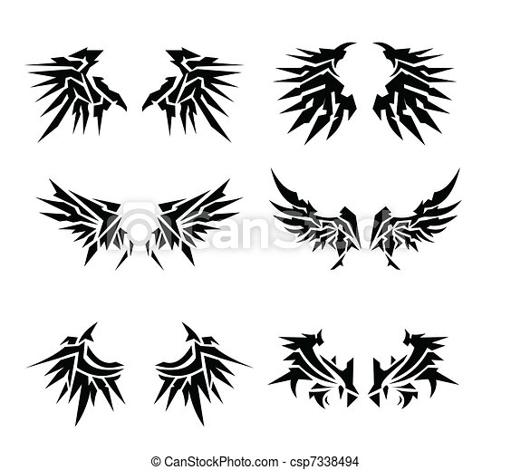 6 set wings tatoo - csp7338494