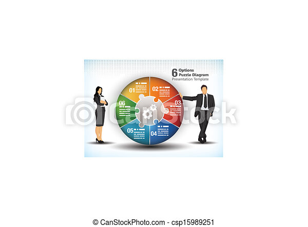 6 sided business wheelchart - csp15989251