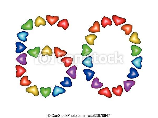 9b2e312369bc 60, corazones, hecho, número, multicolor. Hecho, número, multicolor ...