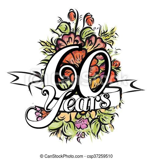 Fiori 60 Anni.60 Disegno Cartolina Auguri Anni 60 Mazzolino Augurio Anni