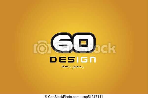 60 number numeral digit white on yellow background - csp51317141