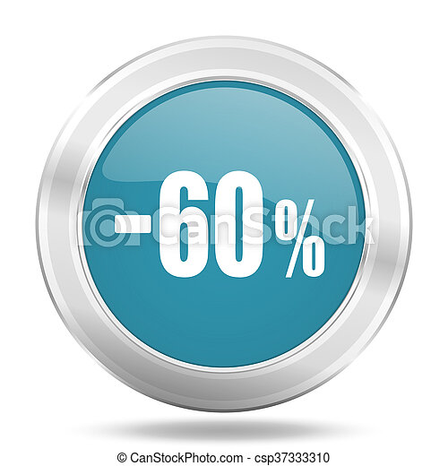 60 percent sale retail icon, blue round glossy metallic button, web and mobile app design illustration - csp37333310