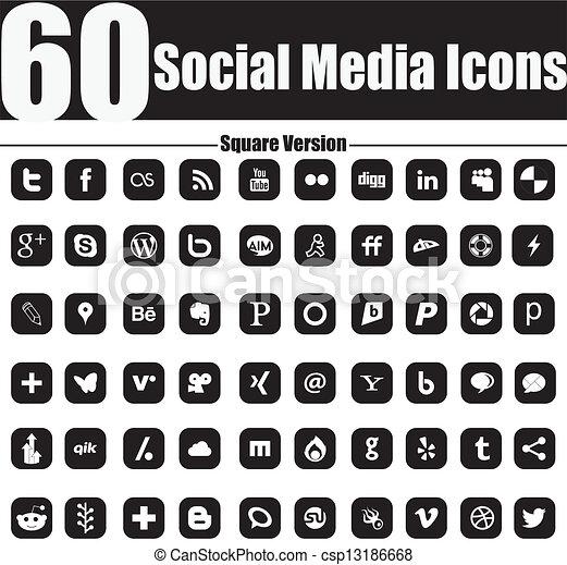 60 Social Media Icons Square Versio - csp13186668